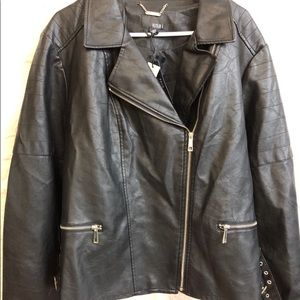 A.N.A. Black Plus Size Moto Jacket. 3X side Buckle